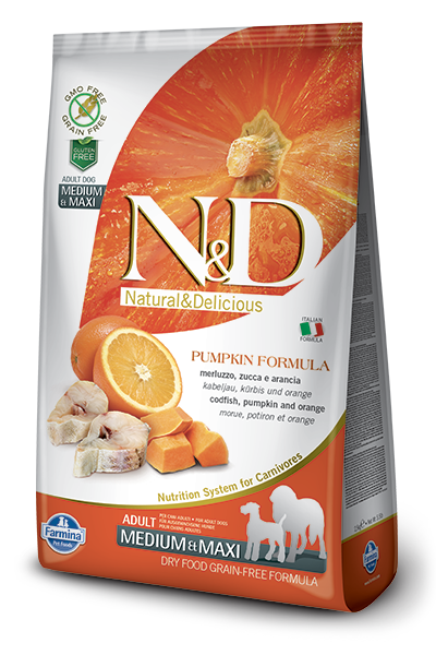 N&D Grain Free Pumpkin Fish & Orange Adult Medium & Maxi (2.5 Kg)