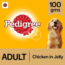 Pedigree Adult Jelly Chicken Pouch - 100 gm (Pack of 12)
