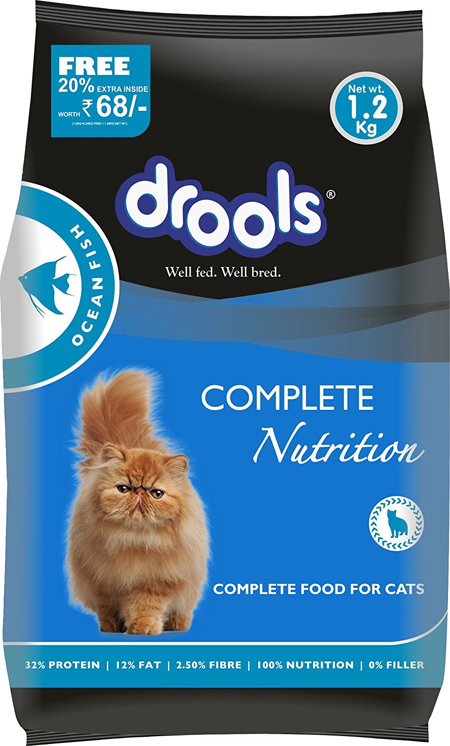 Drools Ocean Fish Adult Cat Food - 1.2 kg (20% Extra FREE Inside Offer)