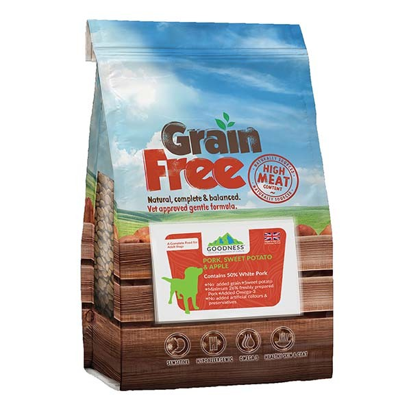 Goodness Pork, Sweet Potato & Apple Grain free for Adult Dogs - 2 Kg
