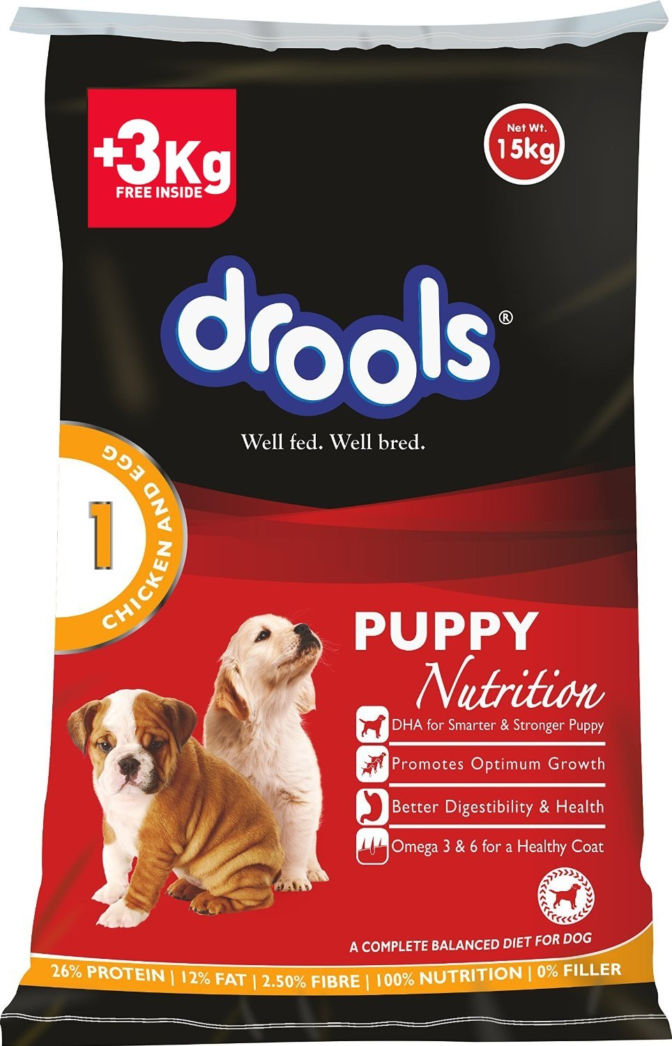 Drools Chicken and Egg Puppy - 15 kg (+ 3 kg inside FREE)
